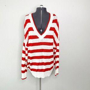 Philosophy Ivory Red Striped V-Neck Knit Sweater L